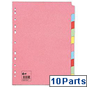 10 Part Assorted Subject Dividers A4 Pack 10 5 Star