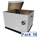 5 Star Storage Box Self-Assembly W380xD430xH287mm Grey [Pack 10]