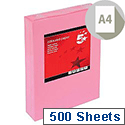 A4 Medium Pink Coloured Paper Multifunctional Ream-Wrapped 80gsm 500 Sheets 5 Star