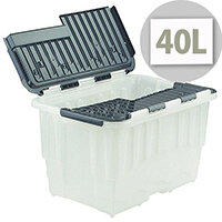 Strata Duracrate 40 Litres Storage Box with Hinged Folding Lid Clear with Black Lid