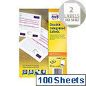 Avery Double Integrated Label with Perforation 85x54mm (100 Sheets)
