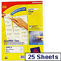 Avery Clear Inkjet Labels 99.1x34mm 16 per Sheet Pack of 25 J8562-25