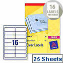 Avery L7562-25 Clear Laser Label 99.1x34mm (400 Labels)