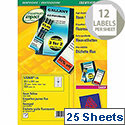 Avery Laser Label L7670-25 Circle 63.5mm Fluorescent Yellow (300 Labels)