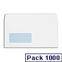 Plus Fabric Envelopes Lightweight Wallet Press Seal Window 80gsm DL White [Pack 1000]
