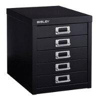 Bisley Multi Drawer Cabinet 12 Inches 5 Drawer Non Locking Black 12/5