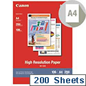 A4 Canon High Resolution Inkjet Printer Paper 106gsm Pack of 200