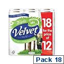 Triple Velvet Toilet Roll Pack of 18 White Toilet Paper Rolls