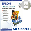 Epson A3 Archival Matt Printer Paper Pack of 50 C13S041344