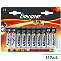 Energizer MAX E91 AA Alkaline Batteries (Pack of 16)