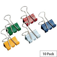 Q-Connect Foldback Clip 24mm Assorted Colours (Pack of 10)