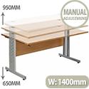Giorgio Height-Adjustable Rectangular Desk 1400x800x650-950mm Beech