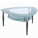 Triangular Shaped Two Tier Glass & Chrome Coffee Table