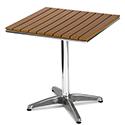 Monaco Square Outdoor Table Slatted Teak Wood Effect Top and Aluminium Base