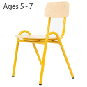 Traditional Plywood Curved Seat Classroom Chair 320mm 5-7 Years Yellow PC1BC