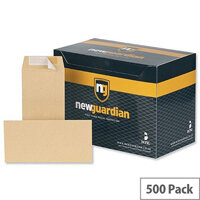 New Guardian DL Envelopes Pocket Manilla Peel and Seal Pack 500