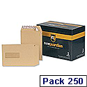 New Guardian C5 Window Manilla Envelopes Peel and Seal Pocket Pack 250 Ref F26639