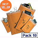 Jiffy No.0 Brown Lined Bag Envelopes Mini Pack 135x229mm (Pack of 10)