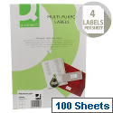 Q-Connect Copier Labels 105x148mm 4 per A4 Sheet Butt Cut Pack of 100 White