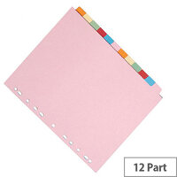 12-Part Subject Divider A4 Multipunched Assorted Colour Q-Connect KF01515