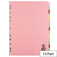 15-Part Subject Divider A4 Multipunched Assorted Colour Q-Connect KF01516