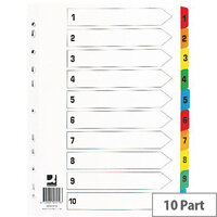 Index A4 Multi-Punched 1-10 Reinforced Multi-Colour Numbered Tabs Q-Connect KF01519