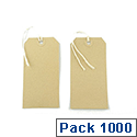Q-Connect Strung Tag 120x60mm Buff Pack of 1000 KF01600