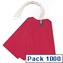 Q-Connect Strung Tag 120x60mm Red Pack of 1000 KF01627