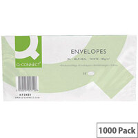 Q-Connect Envelope DL 80gsm White Self-Seal  20 Pack of 50 Envelopes KF02712