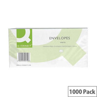 Q-Connect Envelope DL Window 80gsm White Self-Seal 20 Pack of 50 KF02713