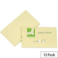 Q Connect Quick Note Repositionable Pad 76x127mm Yellow Pack 12