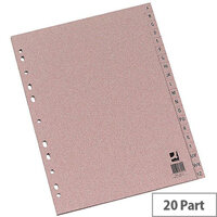 Q-Connect Buff Index A4 Multi-Punched A-Z 20-Part Manilla KF26011