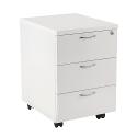 Jemini 3-Drawer Mobile Pedestal White KF74148