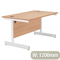 Jemini Rectangular Desk White Cantilever Leg 1200mm Beech KF838793