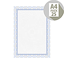 DECAdry A4 Blue Bordered Certificate Paper 115gsm Pack of 25