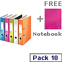 Leitz Wow Lever Arch File A4 80mm Assorted Pack of 10 With FOC A4 Notebook Pink