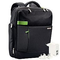 """Leitz Complete 15.6"""" Backpack Smart Traveller with FREE Travel USB Wall Charger"""