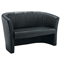 Tub Reception Sofa Leather-Look Black