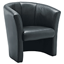 Leather Look Tub Armchair Black