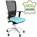 Ergonomic Mesh Task Chair With Lumbar Support & Adjustable Arms Light Blue Eco-Leather Seat OZ Series