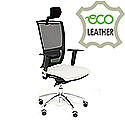 Ergonomic Mesh Task Chair With Headrest Lumbar Support & Adjustable Arms White Eco-Leather Seat OZ Series