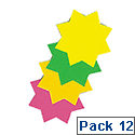 RDI Ticket Board Star 6 inch Fluorescent Assorted Pack of 12 TB6