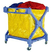 Mobile Folding Laundry Trolley Blue With PVC Bag 314176