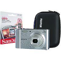 SO02123 Sony DSC-W800 Silver camera Kit inc 8GB SD Card and Hard Case