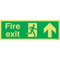 Safety Sign Niteglo Glow In The Dark Fire Exit Running Man Arrow Up 150x450mm PVC