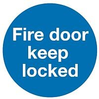 Safety Sign Fire Door Keep Locked 100x100mm Self-Adhesive Pack 5 KM72A/S