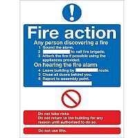 Safety Sign Fire Action Words A4 PVC