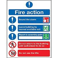 Safety Sign Fire Action Symbols A4 Self Adhesive (Pack of 1) FR09950S