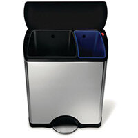 Simplehuman Rectangular Recycler Pedal Bin With Plastic Lid 46 Litre (30/16) Brushed Ste