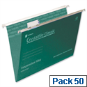 Rexel Crystalfile Foolscap Suspension File Green V-base 15mm Pack 50